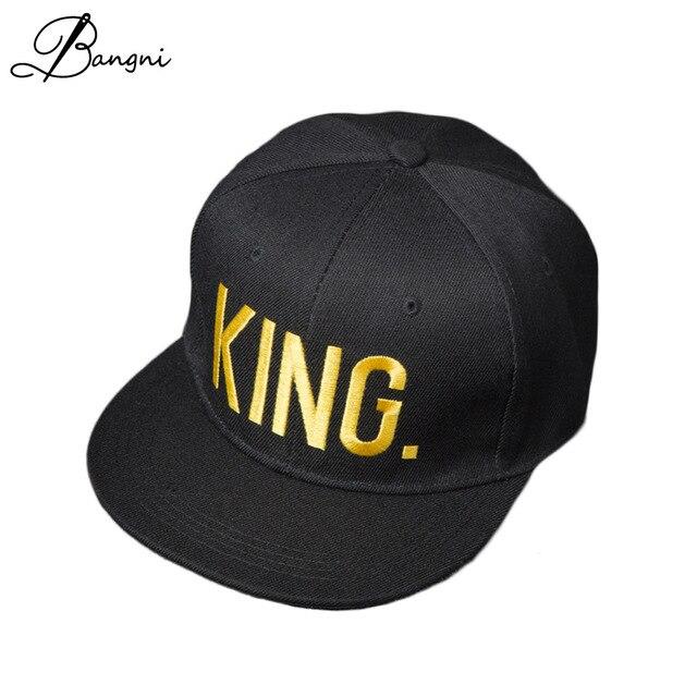 97a7a46ee3050 QUEEN KING Embroidered Snapback Caps Lover Men Women Baseball Cap Black Hip  Hop Cap Snapback hats Adjustable cotton Dad Cap