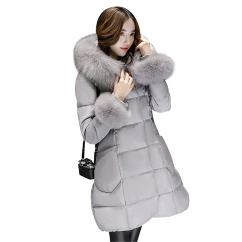 Korea style 2017New Winter Women Coat Female Warm Fur Collar Coat Medium Long Down Jacket Coat
