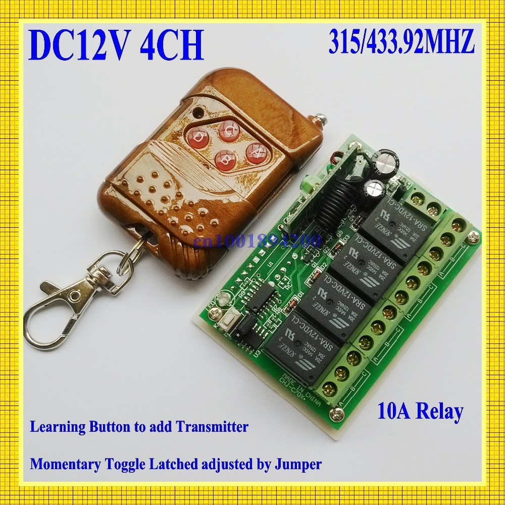 4 CH Relay DC 12V  Wireless Receiver&Transmitter Momentary Toggle Latched RF Remote Control Switch System LED SMD ON OFF 315/433 new rf wireless switch wireless remote control system 2transmitter 12receiver 1ch toggle momentary latched learning code 315 433