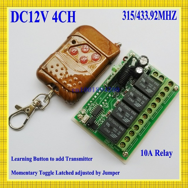 4 CH Relay DC 12V  Wireless Receiver&Transmitter Momentary Toggle Latched RF Remote Control Switch System LED SMD ON OFF 315/433
