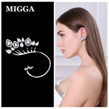 MIGGA 1PC Cubic Zirconia Stone Water Drop Large Full Ear Jacket White Gold Color Cuff Earring for Women