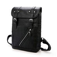 Men Black Vintage Backpack Leather PU Solid High Quality Laptop Back Pack Male Large Capacity School Bags Casual Bagpack Mochila
