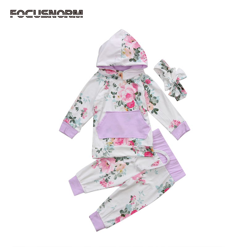 UK Stock Newborn Baby Girl Clothes Floral Long Sleeve Hooded Tops Pants 2Pcs Outfits Set Clothes