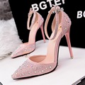 Fashion 2016 Brand Women Pumps Rhinestone Pointed Toe Women High Heels Ankle Strap Sexy Ladies Party SHoes