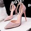 Moda 2016 mulheres bombas strass apontou Toe de salto alto tornozelo Sexy senhoras sapatos de festa