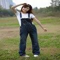 El envío libre 2016 nuevos guardapolvos del dril de algodón de las mujeres, tirantes vaqueros yardas, monos de gran tamaño, mamelucos para mujer mono, tamaño S-6XL