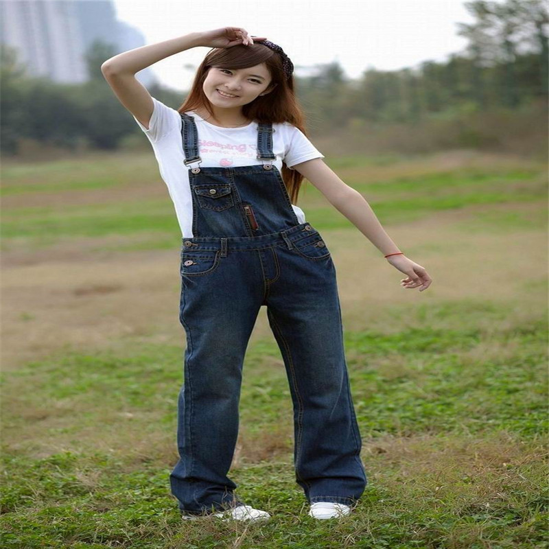 ФОТО Free shipping 2017 new denim overalls women, suspenders jeans yards, Large size coveralls, rompers womens jumpsuit, size S-6XL
