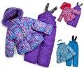 XT-115 Espessamento 2014 de inverno das crianças terno de esqui conjunto de roupas de bebê outerwear conjunto bib pant vest 3 cores floco de neve menina à prova de vento