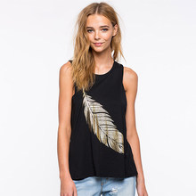 Black Tank Tops Women Breathable Sleeveless O-Neck Vest Female Summer Casual Straight Shirt Female Fashion Gold Stamping Feather(China)