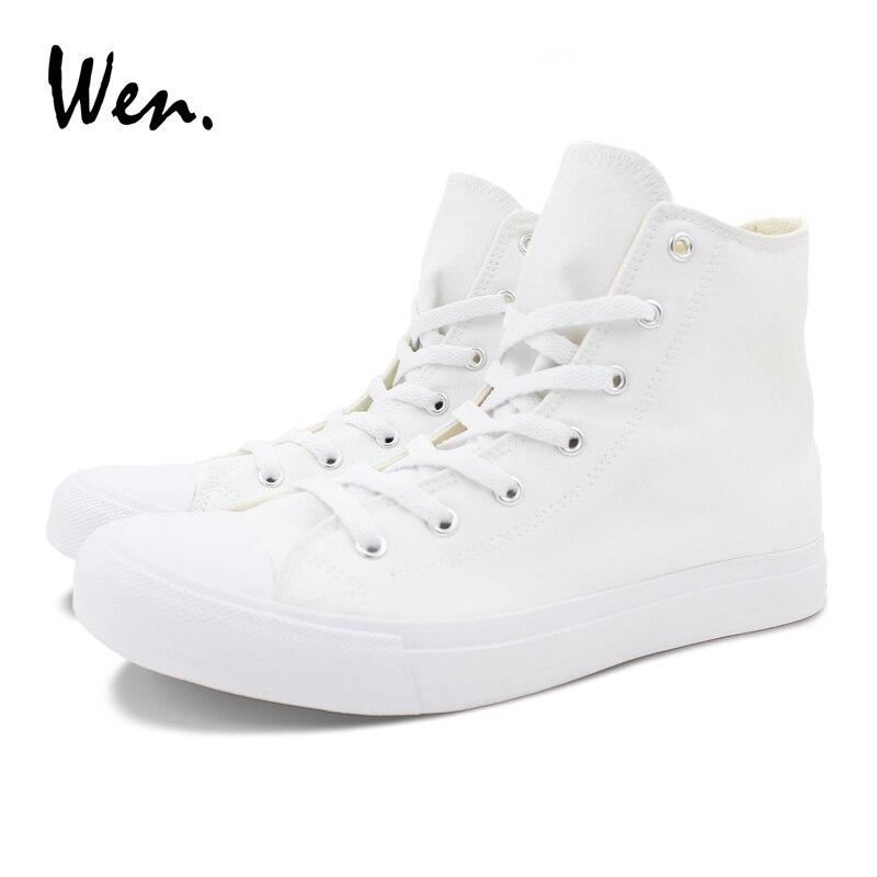Anpassen High Top Bemalte Willkommen Leinwand Schnäppchen Wen Nach Hand Akzeptieren Schuhe Design Bilder Komplexität Weiß Custom Eq88tz