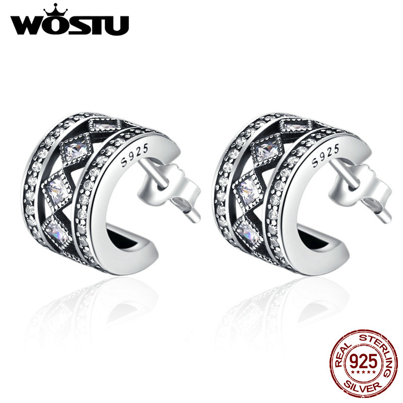WOSTU 2018 New Real 925 Sterling Silver Vintage Allure Stud Earrings For Women Fashion S925 Jewelry Gift CQE052