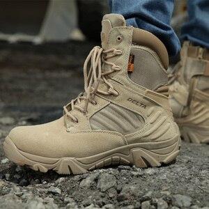 Image 4 - גברים של נעלי עבודת עור אמיתי עמיד למים תחרה עד טקטי אתחול אופנה אופנוע גברים Combat קרסול צבאי צבא מגפיים