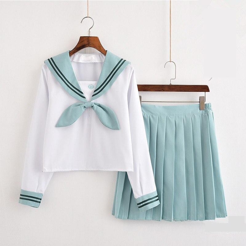Japanese Girls JK Sailor Suit Cosplay School Uniforms long/Short Sleeve T Shirt Preppy Style College Skirt Female Costume Set