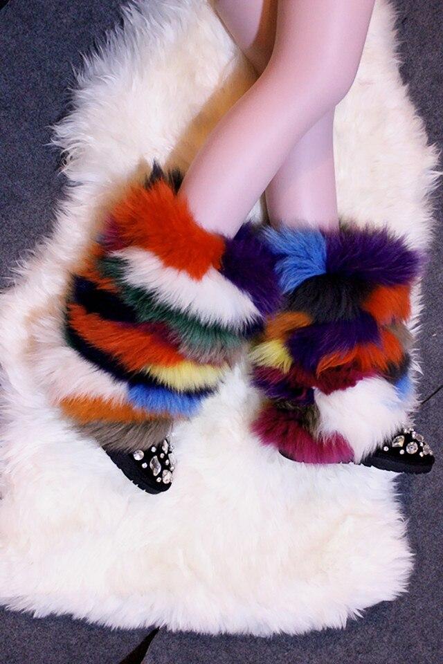 Echtem Handgemachte Mischfarbe Luxus Kristall Schneeschuhe Botas Fuchs Stiefel Mehrfach Leder Schuhe Frauen 43 Winter Fell Haar Bunte wYqfBw4