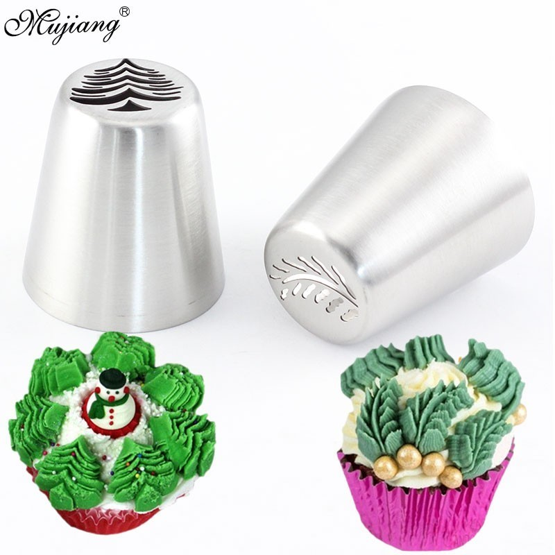 2Pcs Russian Icing Piping Tips Christmas Tree Pastry Nozzles Cake Cupcake Cookie Decoration Pastry Baking Confectionery Tools-in Dessert Decorators from Home & Garden