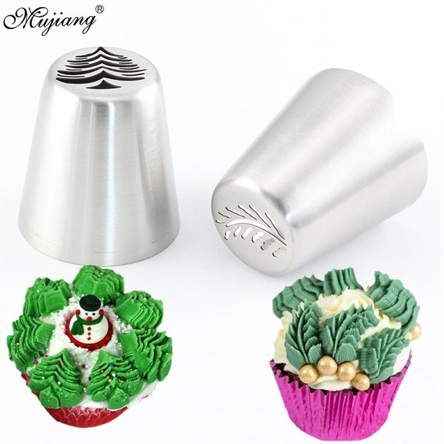 2Pcs Russian Icing Piping Tips Christmas Tree Pastry Nozzles Cake Cupcake Cookie Decoration Pastry Baking Confectionery Tools
