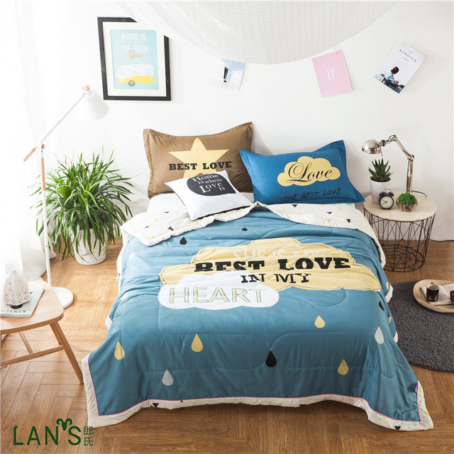 2017 New Cartoon Printed Blue Quilts 100 Washable Cotton Summer Duvets Thin Blankets Bedspreads Comforters