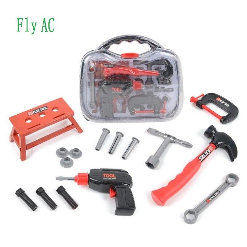 Fly AC enfants jouets outils Simulation bricolage réparation réparation boîte à outils rôle perceuse électrique jouer Kits semblant jouer jouets pour garçons