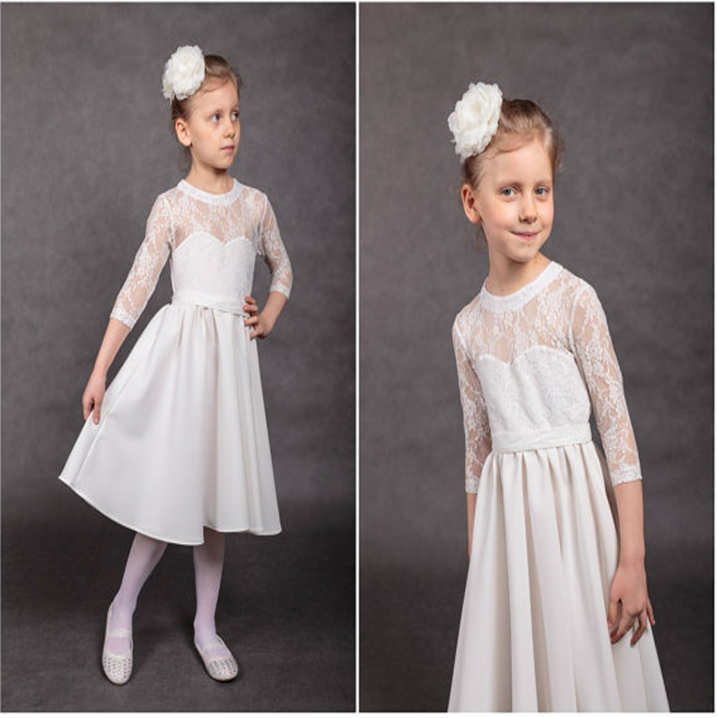 A-Line Flower Girls Dresses for Wedding White Holy Communion Dresses Lace Mother Daughter Dresses Long Junior Bridesmaid Dress
