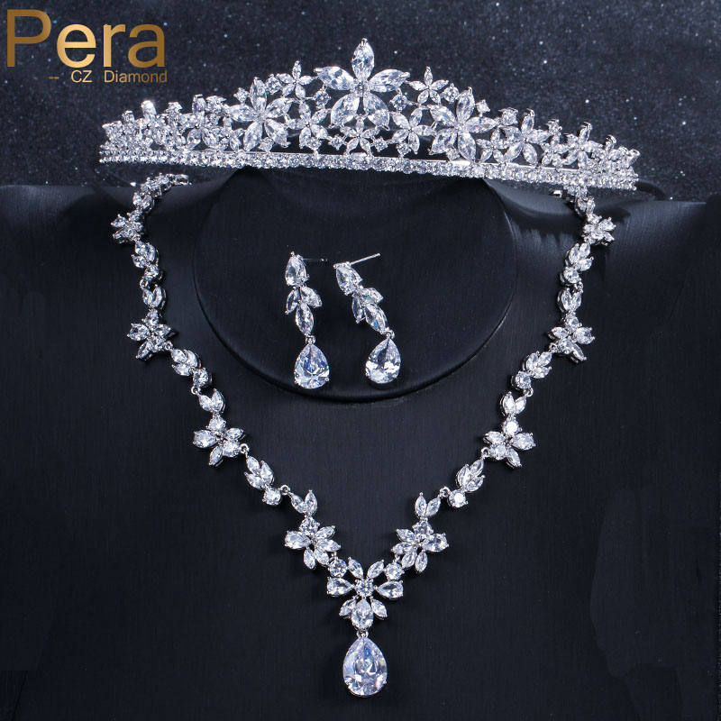 Pera Luxury Bridal Wedding 3 Pcs Jewelry Big Cubic Zirconia Flower Long Drop Necklace Earring And Crown Tiara Set For Women J029