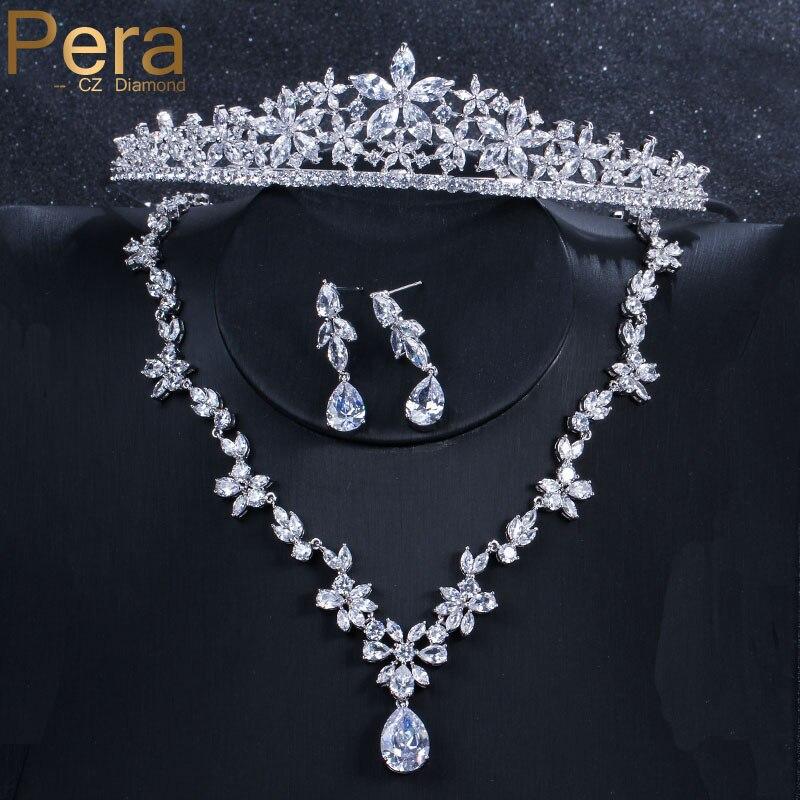 Pera de luxe mariée mariage 3 pièces bijoux grand cubique zircone fleur longue goutte collier boucle d'oreille et couronne tiare ensemble pour les femmes J029