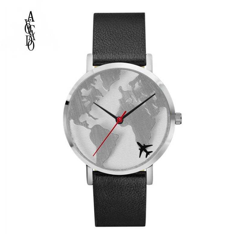 Beaucoup de Styles carte du monde montres bracelet de montre en cuir avion montre mouvement à Quartz