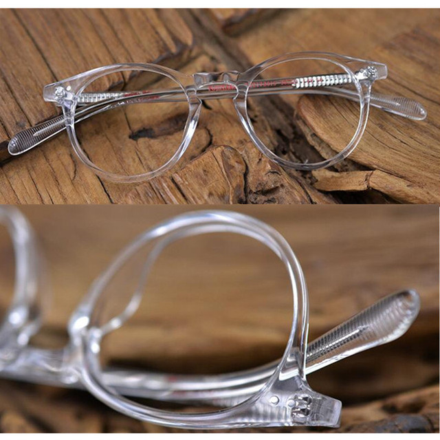 60fc0561cf Vintage Oval Round Hand Made Transparent Eyeglass Frames Full Rim Glasses  Men Women Spectacles Myopia Rx