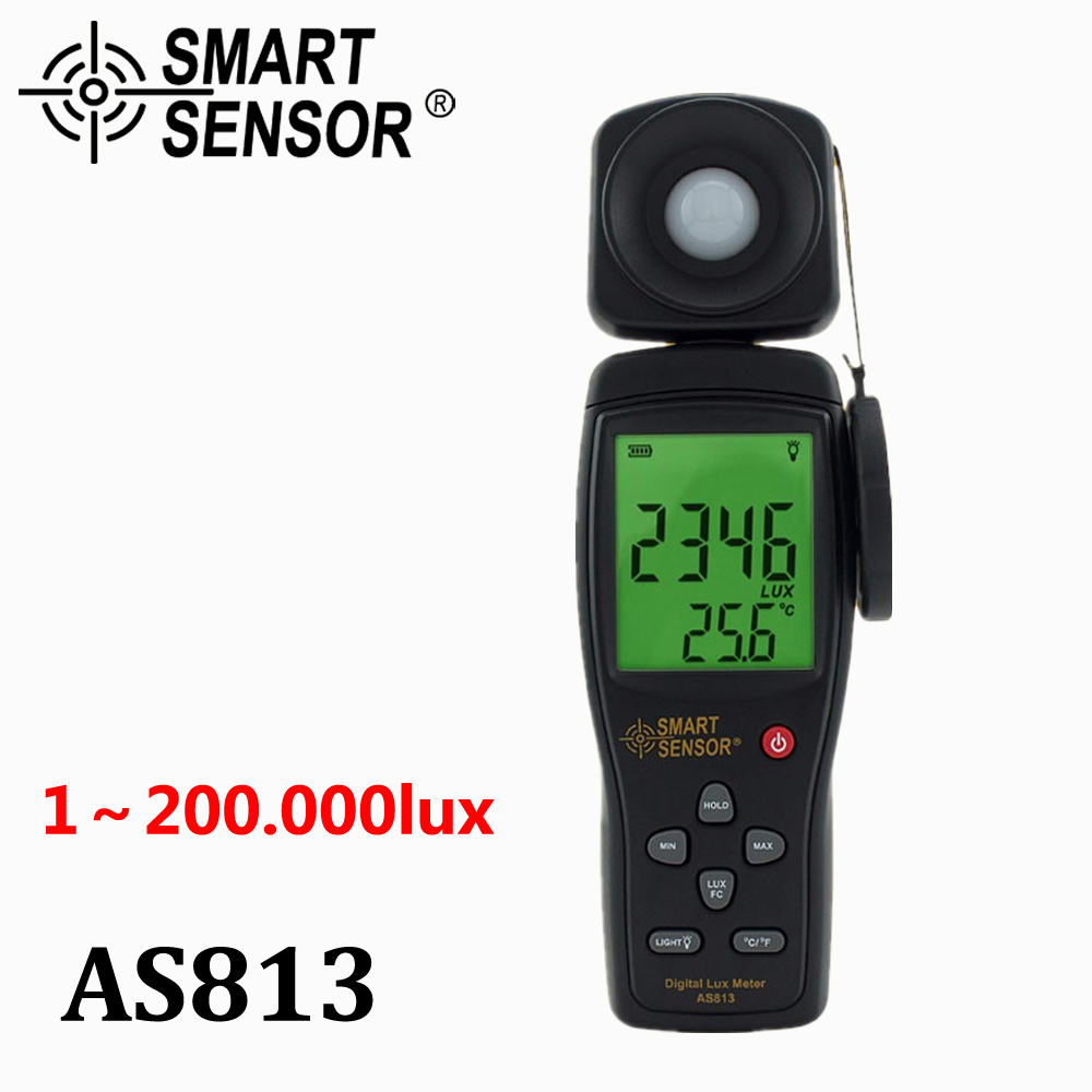 ФОТО Smart Sensor AS813 High Precision digital Lux Meter light meter Luminance tester Photometer range: 1-200,000Lux Measurement tool