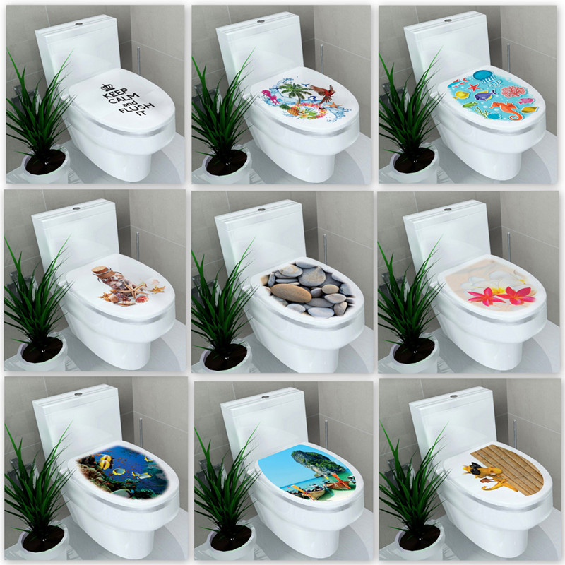 3D printed view Toilet Wall Sticker Decal Mural Art Decor Bathroom Decoration WC Pedestal Pan Cover Toilet Stool Commode Sticker