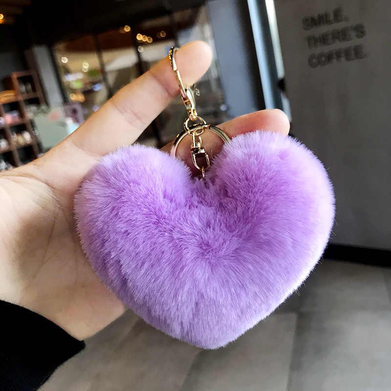 Llaveros de pompón de pelo de conejo de imitación mullido Llavero de bolas de corazón de moda llaveros de mujer bolsa de abalorio de colgantes accesorios Llavero