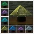 Colorido Pirámide 3D LLEVÓ la lámpara de acrílico lámpara de Mesa Lámpara de luz gradiente de colores luz de La Noche 3d estereoscópica