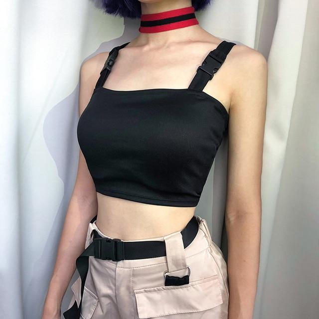 b5b3f4c3cde04e Waatfaak Black Crop Top Buckle Straps Sexy Bodycon Sleeveless Tank Top  Women Cami Shirt Summer Bralette