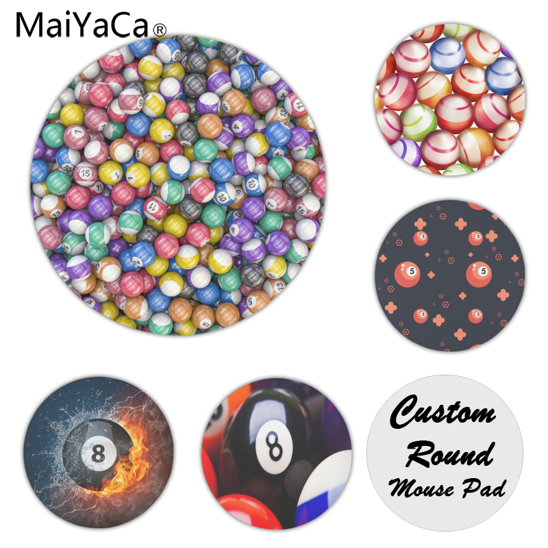 MaiYaCa Quality Billiard balls on table Customized laptop Gaming mouse pad Size for 200x200x2mm and 220x220x2mm Round Mousemats