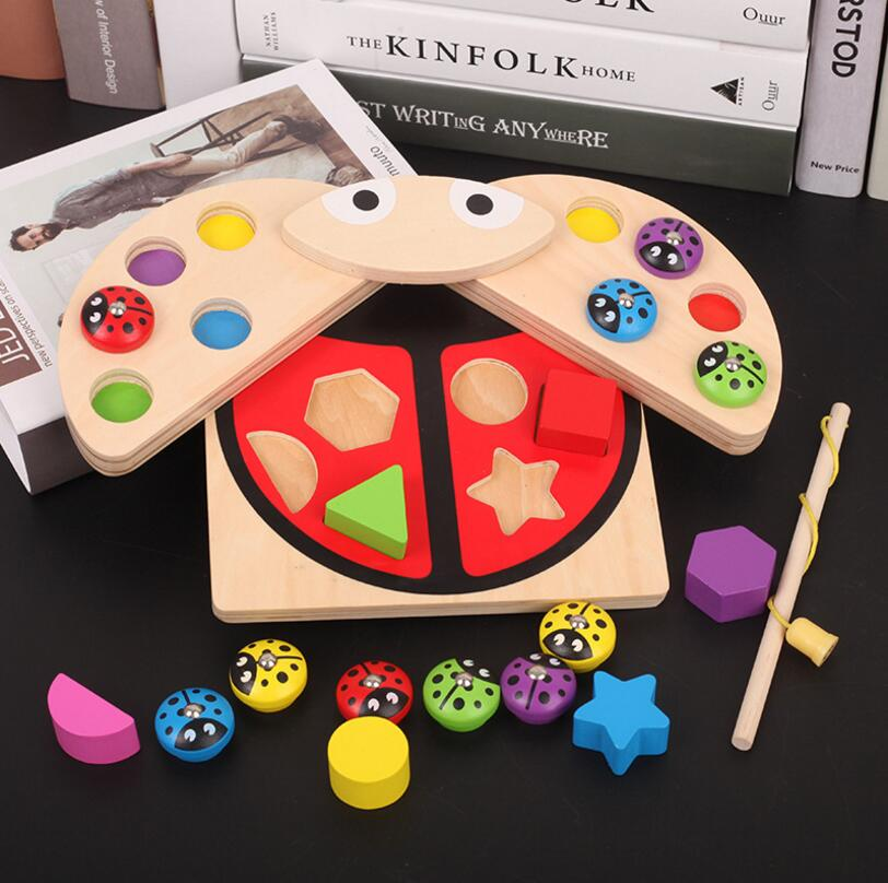BabyWooden toys Ladybug Game multicolour Shape block Learning & Educational table fish game for children 99BabyWooden toys Ladybug Game multicolour Shape block Learning & Educational table fish game for children 99