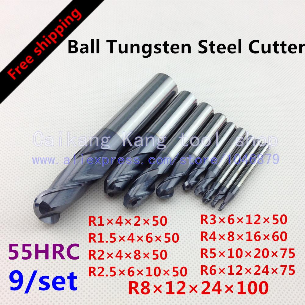 Free shipping 9/set Cutting Hardness: 55HRC Ball tungsten steel cutter CNC milling Cutter R1/1.5/2/2.5/3/4/5/6/8 magic puzzle 3d puzzle diy paper notre dame de paris puzzle for kids children adults anti stress gifts toys educational toys