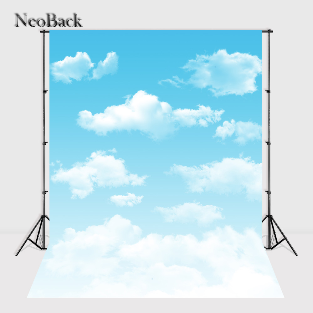 NeoBack 5x7ft White Cloud Blue Sky Photography Backdrops Children indoor Studio Photo Backdrop Studio Photo Background B1045 vinyl cloth backdrops purple floral white cloud blue sky photography background for photo studio free shipping f1034