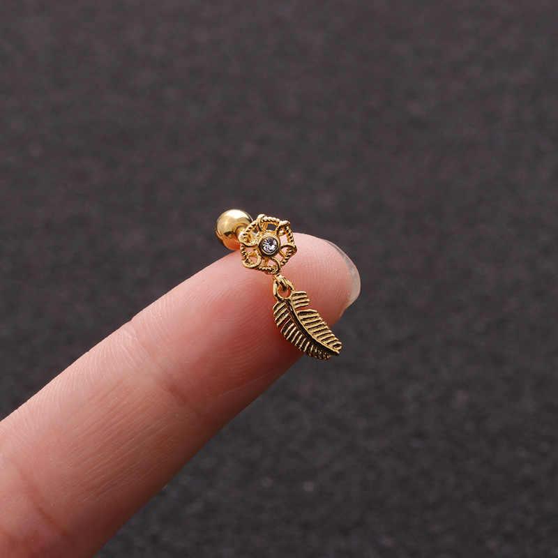 1pcs Cute Leaf Cartilage Earring Ear Piercing Oreja 16G Stud Earrings Pircing Dreamcatcher Tragus  Helix Piercing Jewelry