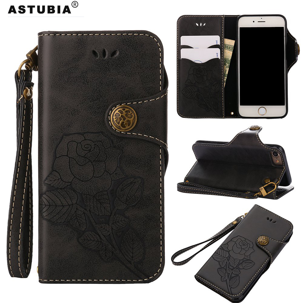 Luxury Vintage Rose Flowers Case For Apple iPhone X Case Leather Filp Cover For iPhone SE Case For iPhone 5s 6 6s 7 8 Plus Cover
