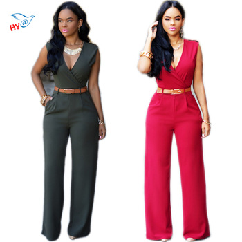 2016 Fashion Chiffon Elegant Jumpsuit sleeveless deep V neck sexy club rompers for women Cut out Wrap Front Belted Jumpsuit Red