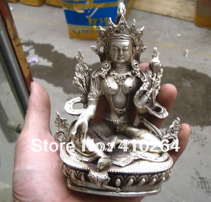 0116P $old Craft$ Fast Shipping Elegant Oblation Hight 15CM Green Tara Buddha Silver Statue (A0314)