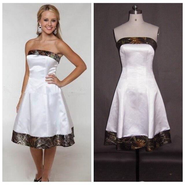 2017 Strapless White Satin Camo Wedding Dress Short Knee Length ...