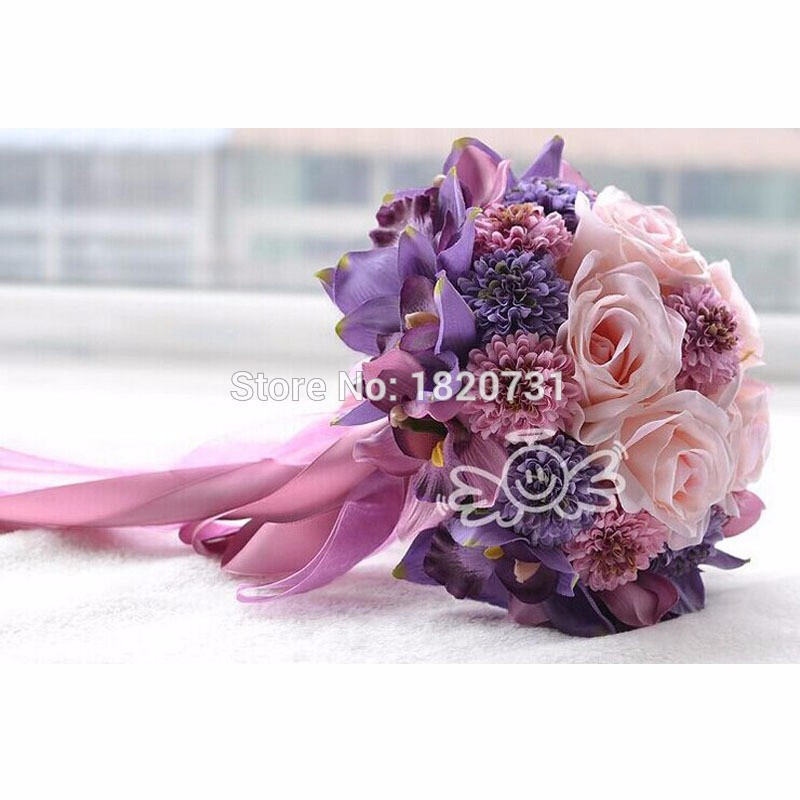 Beach-Wedding-Flowers-Bridal-Bouquets-Purple-Rose-Romantic-Artificial-Wedding-Bouquet-bouquet-de-mariage-Crystal-Hot (1) -