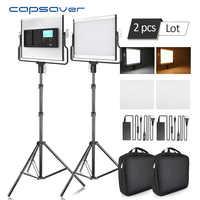 Capsave L4500 iluminación LED de fotografía luz de vídeo lámpara de foto regulable 3200 K-5600 K 15W CRI 95 Panel de Metal con soporte de trípode