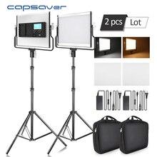Capsaver L4500 Chụp Ảnh Chiếu Sáng Đèn LED Video Ảnh Đèn Âm Trần 3200 K 5600 K 15W CRI 95 Kim Loại bảng Điều Khiển Với Chân Đế Tripod