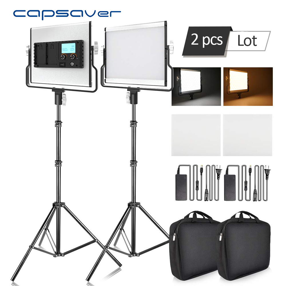 capsaver <font><b>L4500</b></font> Photography Lighting LED Video Light Photo Lamp Dimmable 3200K-5600K 15W CRI 95 Metal Panel with Tripod Stand image