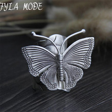 Real 999 Sterling Silver Ring Butterfly Shaped Engagement Fashion Sterling-Silver-Jewelry