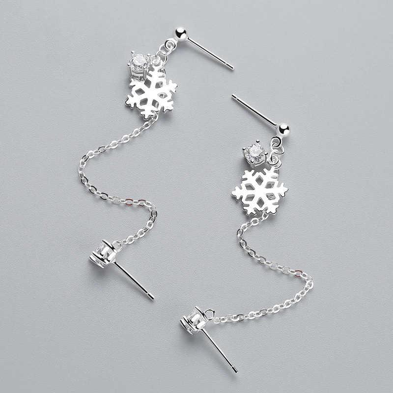 INZATT OL Nyata 925 Sterling Silver Rumbai Salju Drop Earrings Kristal Pesona Untuk Trendy Wanita Fashion Aksesoris Perhiasan Hadiah