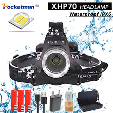 170 lumens multifunction led light lightweight compact usb rechargeable torch for cap light headlamp bicycle light 40000 Lumens XHP70 LED Waterproof IPX6 Headlamp Super Bright Headlight Powerful 40W Flashlight Torch USB Rechargeable Light