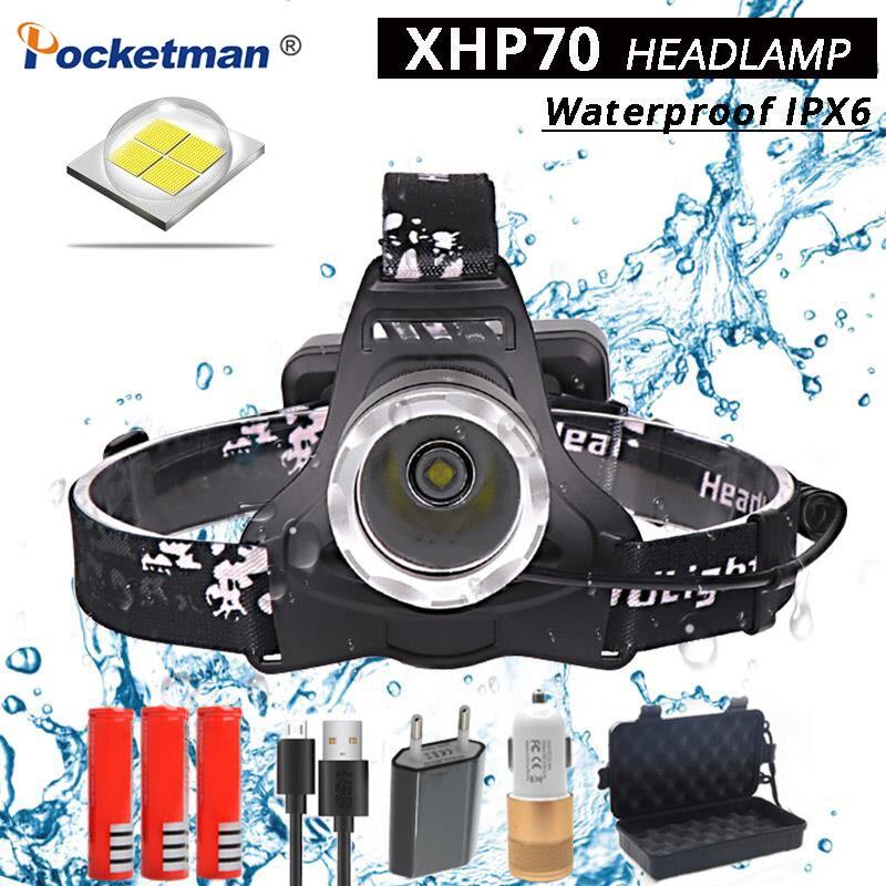 40000 Lumens XHP70 led Étanche IPX6 Projecteur phare super lumineux Puissant 40 W lampe de Poche Torche lumière rechargeable usb