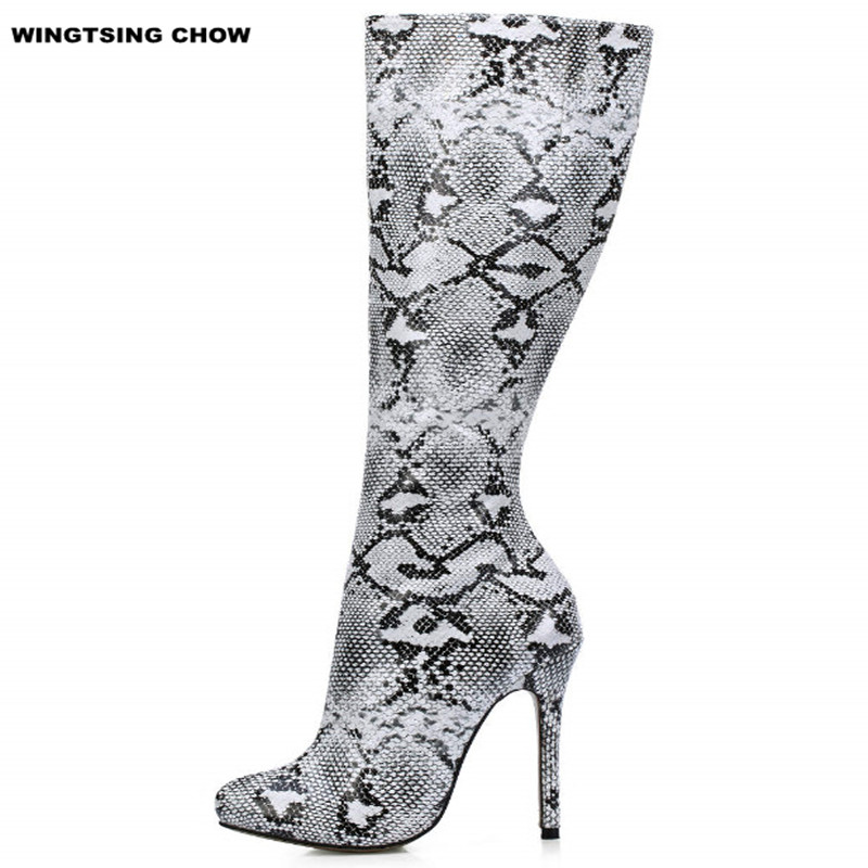 ФОТО Plus Size 35-43 New Brand Snake Style Knee High Boots Women Pumps Sexy High Heels Fashion Thin Heel Platfom Boots